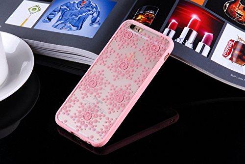 König-Shop Handy Hülle Mandala für Apple iPhone 7 Plus Design Case Schutzhülle Motiv Flocken Cover Silikon Tasche Bumper Rosa