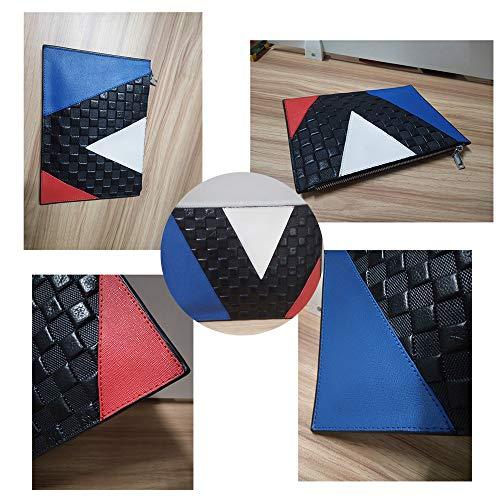 Bolso Clutch Contraste Cuero Teléfono De Messenger Para Azul Celular Del Shmona Moda Genuino Color Diseñador Monedero Mujer xXd4qXgw