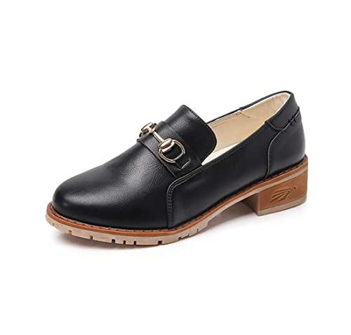 Mocasines para Mujer Otoño Retro Moda Hebilla de Metal de Gran tamaño Zapatos: Amazon.es: Zapatos y complementos