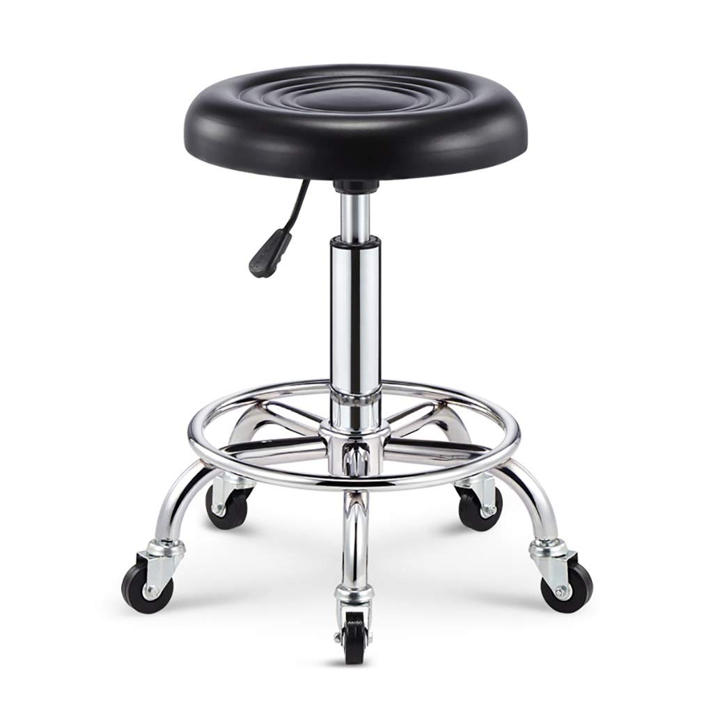 Black ZYANZ redating Bar Stool, Modern High Stools, Adjustable Footstool Chair, Used for Restaurant, Office, Counter, Family (color   Black)
