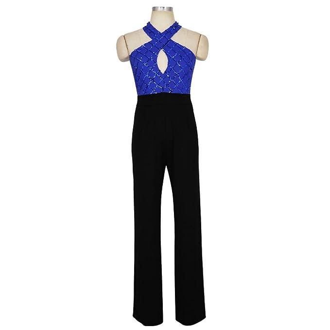 LINNUO Tuta Elegante Pantaloni Lungo Jumpsuit Rompers Vestito Abito  Cerimonia da Donna  Amazon.it  Abbigliamento 148824e2fb9