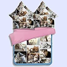 Soft Polyester Cat Print Bedding Set,Lovely Animal Combination Twin Queen King Size,Bed Sheet Duvet Cover Set (Twin)
