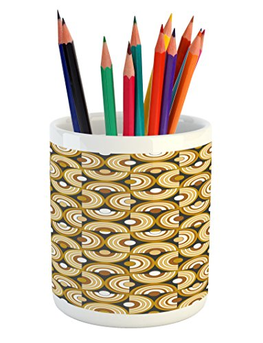 (Ambesonne Retro Pencil Pen Holder, Funky Abstract Motif Half Circular Inner Round Forms Spiral Hoops Artwork, Printed Ceramic Pencil Pen Holder for Desk Office Accessory, Grey Marigold Cinnamon)