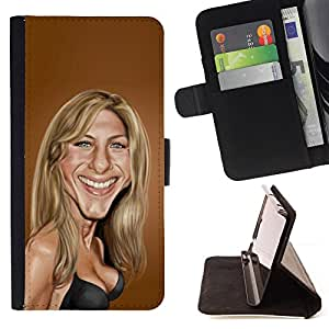 BullDog Case - FOR/Samsung Galaxy S4 Mini i9190 / - / Sarah Anniston brown caricature movie /- Monedero de cuero de la PU Llevar cubierta de la caja con el ID Credit Card Slots Flip funda de cuer