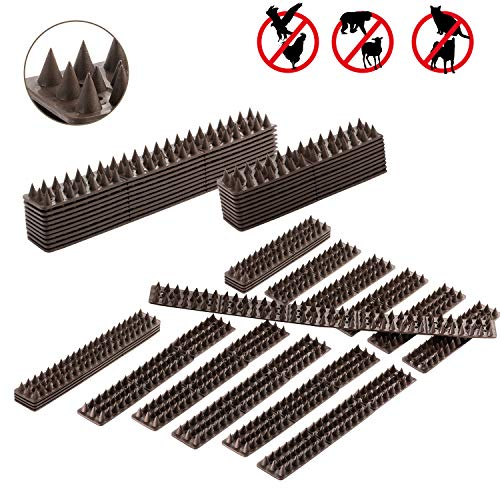 (WeyTy Defender Bird Spikes, Cat and Bird Repellent Anti-Climb Fence Spikes to Keep Off Roosting Pigeons and More Small Animals Out. Plastic Deterrent Anti Theft Climb Strips - 10 Pack [16.4 Foot])