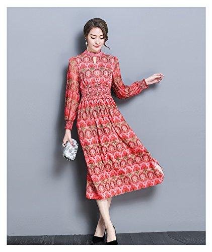 Rouge flower ZHUDJ Printemps Et été Florale Robe Robe Longue Taille Perles Tempérament_ M