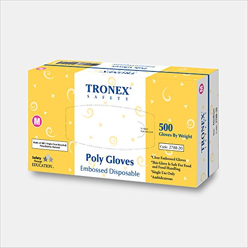 Tronex- PE Clear Disposable Gloves, Economic Choice, Powder-Free, Food Safe (500, X-Small)