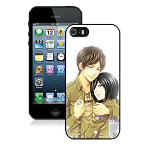 Newest iPhone 5 5S Screen Case ,Unique And Fashionable Designed Case With Eren and Mikasa Black iPhone 5 5S Phone Case