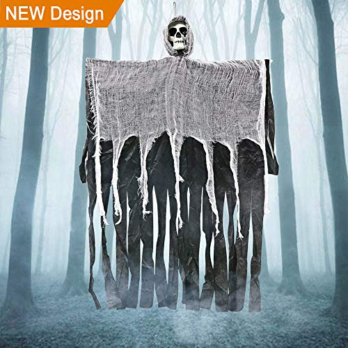 "Wmbetter 40"" Halloween Hanging Ghost Decoration with Realistic Skull Face for Halloween Horror Decor     -"