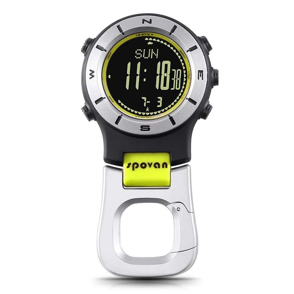 SPOVAN Smartwatch Höhenmesser-Barometer-Kompass-LED-Clipuhren Sportuhren Angeln Wandern Klettern Taschenuhr,Gelb