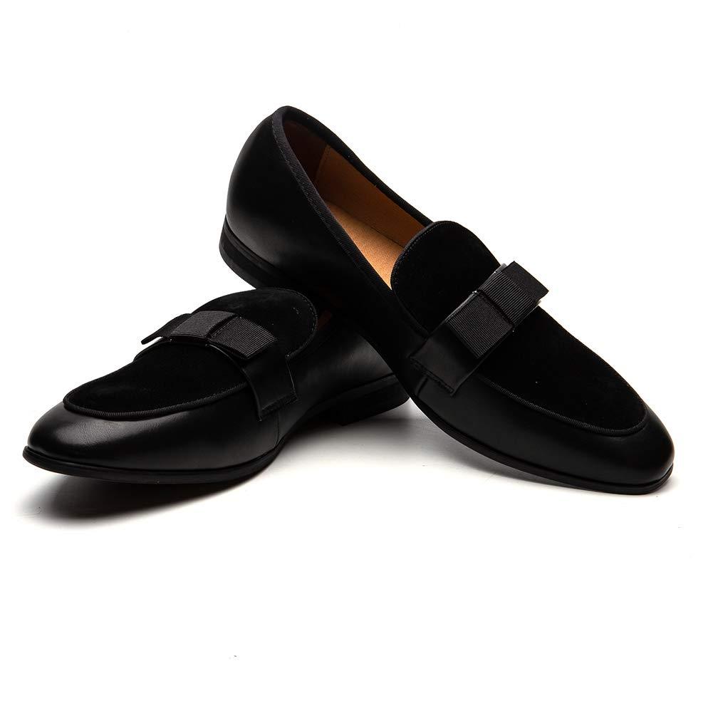 TALLA 44 EU. Zapatos de Cuero para Hombres Patrón de impresión Vestido para Hombres Zapatos holgazán Slip-on Informal Loafer Smoking Slipper…