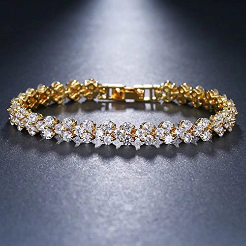 Women Fashion Roman Style Crystal Diamond Bangle Bracelets Elegant Charm Rhinestone Bracelets Gifts