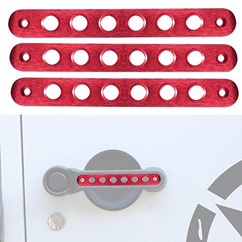 opar Red Aluminum Front & Rear Door Grab Handle Inserts for 2007-2018 Jeep Wrangler JK 2-Door (Pack of 3) (Rear Red Door Handle Interior)