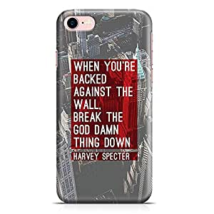 Loud Universe iPhone 8 Case Suits Case Harvey Specter Quote Backed Against The Wall Tv Show Durable Scratch Resistant Light Weight Wrap Around iPhone 8 Cover