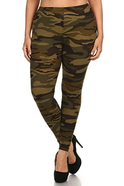 206000dbb916f NioBe Women s Plus Size Fashion Design Leggings (Army) at Amazon ...