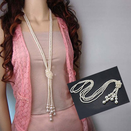 Baost Women Elegant Faux Pearl Tassel Pendant Long Chain Charms Sweater Necklace Imitation Pearl Strand Flapper Beads Rhinestone Ball Necklace Knotted Artificial Pearl Necklace Random
