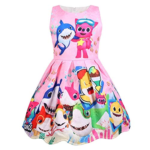 Coralup Toddler Girls Baby Shark Sleeveless Party Dress(Pink,18-24