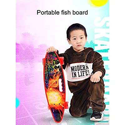 OFFA Skateboard, Cruiser Retro Skateboard 31x8 Inch Plastic Board Comes Complete with Skateboards Sturdy Deck for Beginner Kids Boys Girls Teens Adult (Color : E): Home & Kitchen