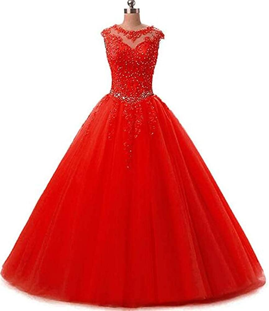 Red Yuki Isabelle Women's Lace Appliques Sequined Evening Party Dress Long Wedding Ball Gown
