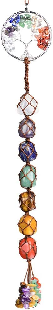 Weryerker Tree of Life Natural Healing Crystals 7 Chakra Hanging Ornament for Home Decoration Ornaments for Party Decor