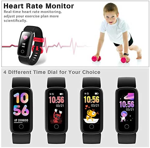 BIGGERFIVE Fitness Tracker Watch for Kids Girls Boys Teens, Activity Tracker, Pedometer, Heart Rate Sleep Monitor, IP68 Waterproof Calorie Step Counter Watch with Alarm Clock, Great Kids Gift 51sNFTr1OsL