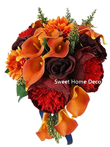 Sweet Home Deco Silk Peony Rose Calla Lily Daisy Mixed Wedding Bridal Bouquet Bridesmaid Bouquet Boutonniere Burgundy Orange (Burgundy/Orange-Cascading Bouquet)