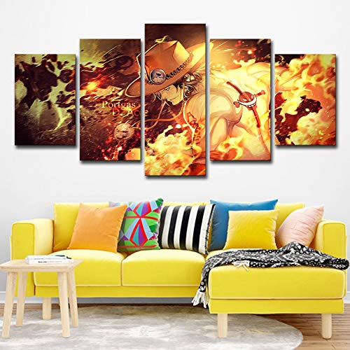 ZEMER 5 Panel One Piece Ace Picture Prints On Canvas Modern Wall Art Anime Poster Paintings Artwork Canvases Print for Home Decoration,B,20X30x2+20X40x2+20X50x1