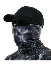 Aqua Design Hunting Fishing Mask Camo Multipurpose Face Tube Wind Sun Protection Shield Bandana Youth to XL Headband Gaiter, Black Water, L