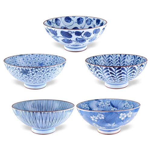 Japanese Handcrafted Rice Bowl, Authentic Mino Ware Pottery, Aie gawari Chawan, set of 5