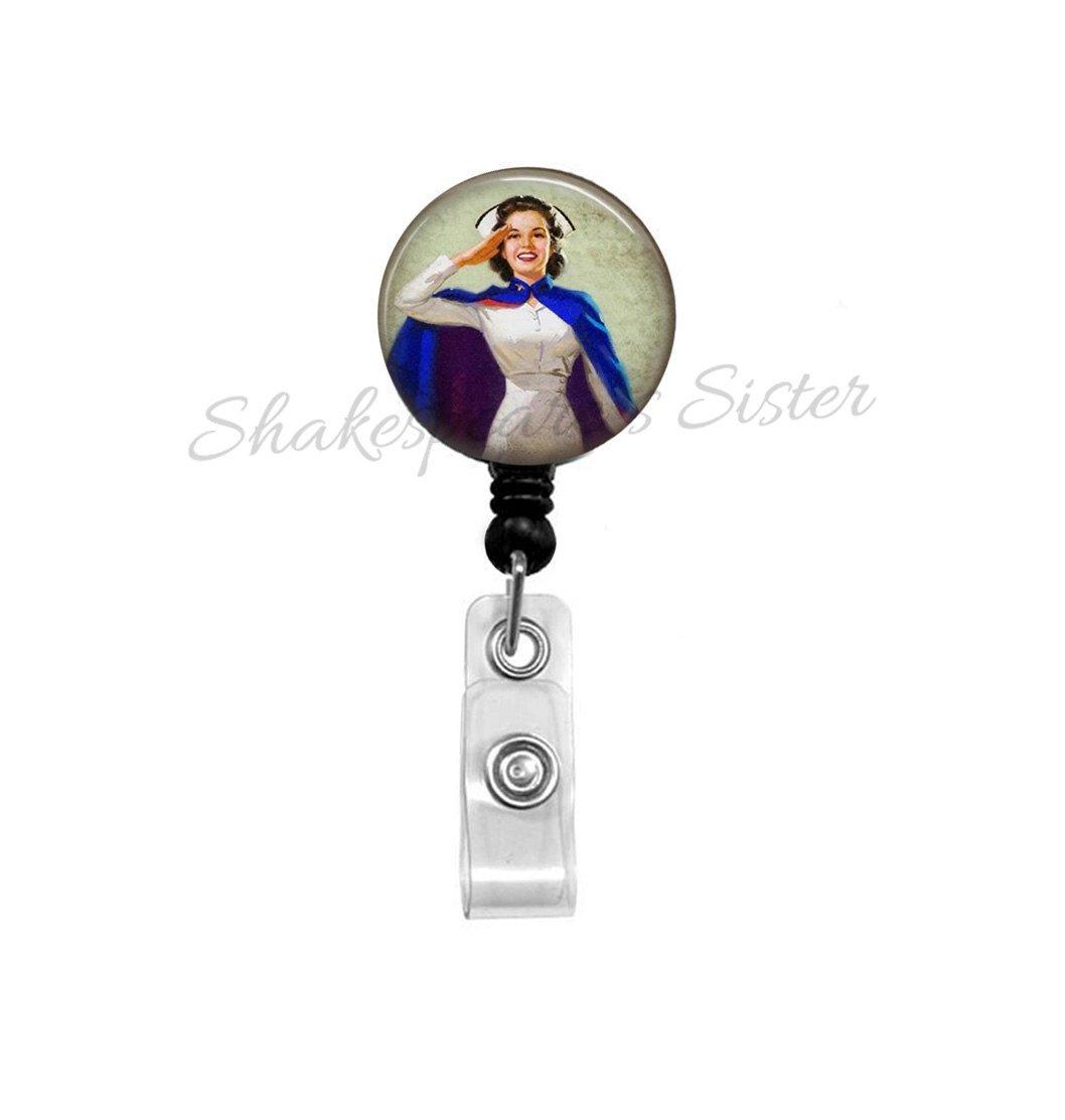 Badge Reel - Vintage Nurse Image - Retractable ID Holder - Nurse Art - Nurse Badge Reel - Veterans Nurse - Gift for Nurse - ID Holder - WWII Nurse
