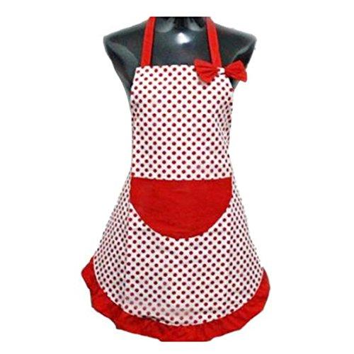 Molyveva Lovely Sweetheart Red Retro Kitchen Aprons Woman Girl Canvas Polka Dot Cooking Salon Pinafore Vintage Apron Dress