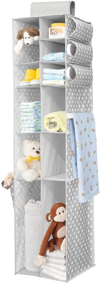 mDesign Soft Fabric Over Closet Rod Hanging Storage Organizer with Divided Shelves and Side Pockets for Child//Kids Room or Nursery Polka Dot Print Gray//White
