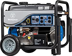 Westinghouse WH6500E Portable Generator - 6500 Running Watts and 8000 Starting Watts - Gas Powered - Electric Start