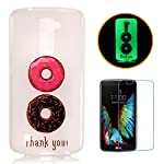 LG K10 Luminous Case [With Free Screen Protector],CaseHome Creative Unique Colorful Pattern Printed Design Fluorescent Effect Night Glow In The Dark Ultra Slim Thin Transparent Clear Soft Flexible Rubber Bumper Jelly Silicone Gel TPU Protective Case Cover Skin for LG K10-Colorful Doughnut - more-bags