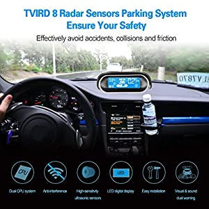 TVIRD Car Parking Sensor Kit LED Display 8 Rear Front View Reverse Backup Radar System Backup Sensor Reversing Sensors Universal Auto Radar Detector Sensors Radar Buzzer BiBi Alarm Indicator (Black)