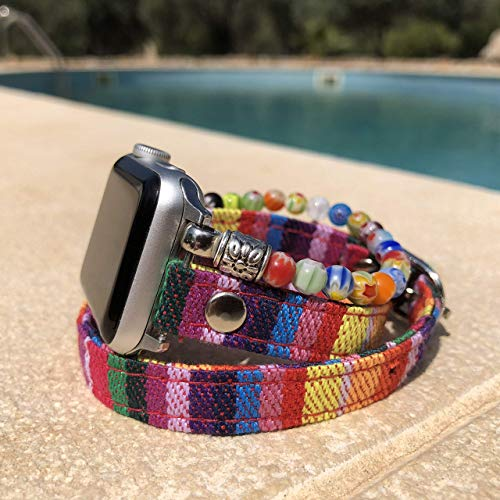 (Stacked bracelet style handmade beaded band for Fitbit and Apple Watches)