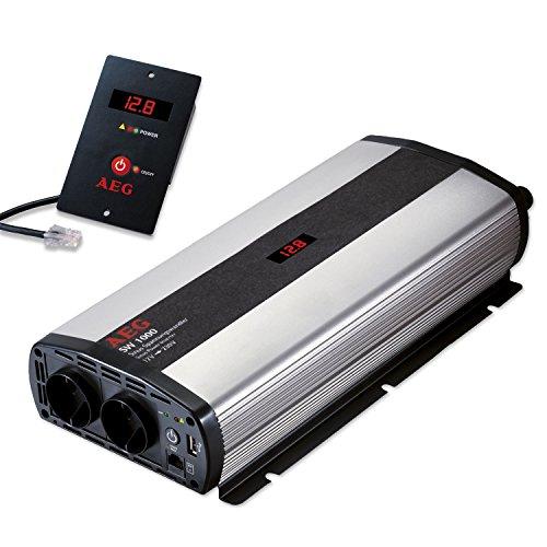 AEG 97121 Sinus-Spannungswandler SW 1000 Watt, 12 Volt auf 230 Volt, mit LCD-Display, USB Ladebuchse, Fernsteuerungsmodul und Batteriewächterfunktion