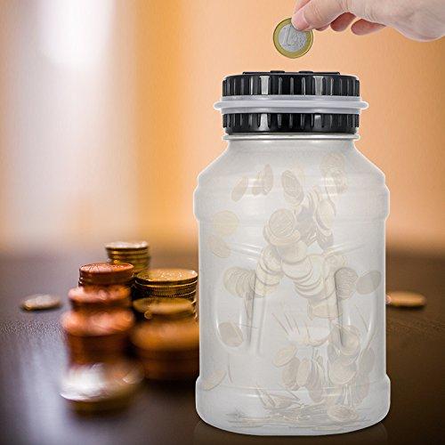 Frontoppy Contador Digital Hucha per EUR, Automático Moneda Contando Caja de Dinero para Niños y Adultos, Banco de Dinero Seguro Moneda de Ahorro de ...