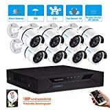 LONNKY 8CH Full HD 1080P DVR Surveillance Security Camera System Outdoor/Indoor CCTV Camera, Clear Night Vision, Motion Detector & Intelligent Face Detection, P2P Smartphone Viewing, 2TB HDD Included