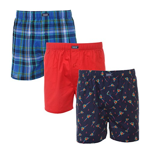 American Eagle Plaid - IZOD Mens 3 Pk Woven Boxer Turkish Sea Plaid/Racing Red/Dress Blues Print S