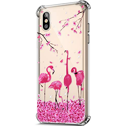 Price comparison product image ikasus Case for iphone Xs Max, Clear Embossed Art Painted Design Soft Flexible TPU Ultra-Thin Shockproof Transparent Girls Women TPU Case Cover for iphone Xs Max Silicone Case, Cherry blossom flamingo