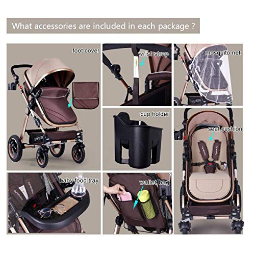 51sNI1TwfIL - Infant Baby Stroller For Newborn And Toddler - Cynebaby Convertible Bassinet Stroller Compact Single Baby Carriage Toddler Seat Stroller Luxury Pram Stroller Add Cup Holder Footmuff And Stroller Tray
