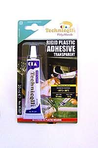 Pegamento transparente para plástico duro