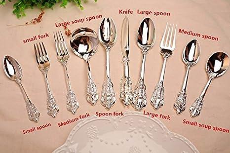 Caliente 1 piezas - Juego de cubiertos de plata cubiertos cubiertos cuchara cuchillo tenedor cuchara de café: Amazon.es: Hogar
