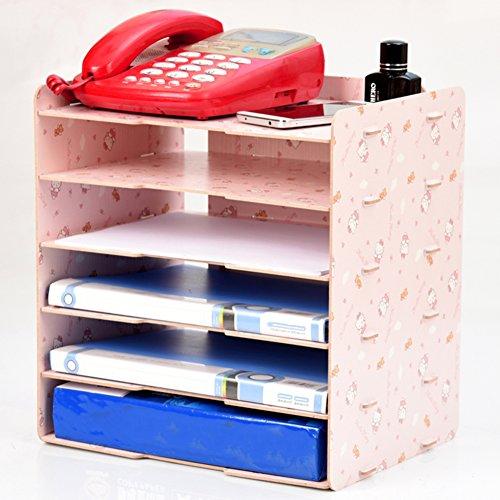 Wooden Workspace Organizers,Office Supplies Storage Box Desktop File Rack Multi-Layer Bookshelf Desk Document Organizer File Holder-O 32.3cmX25.4cmX34.1cm