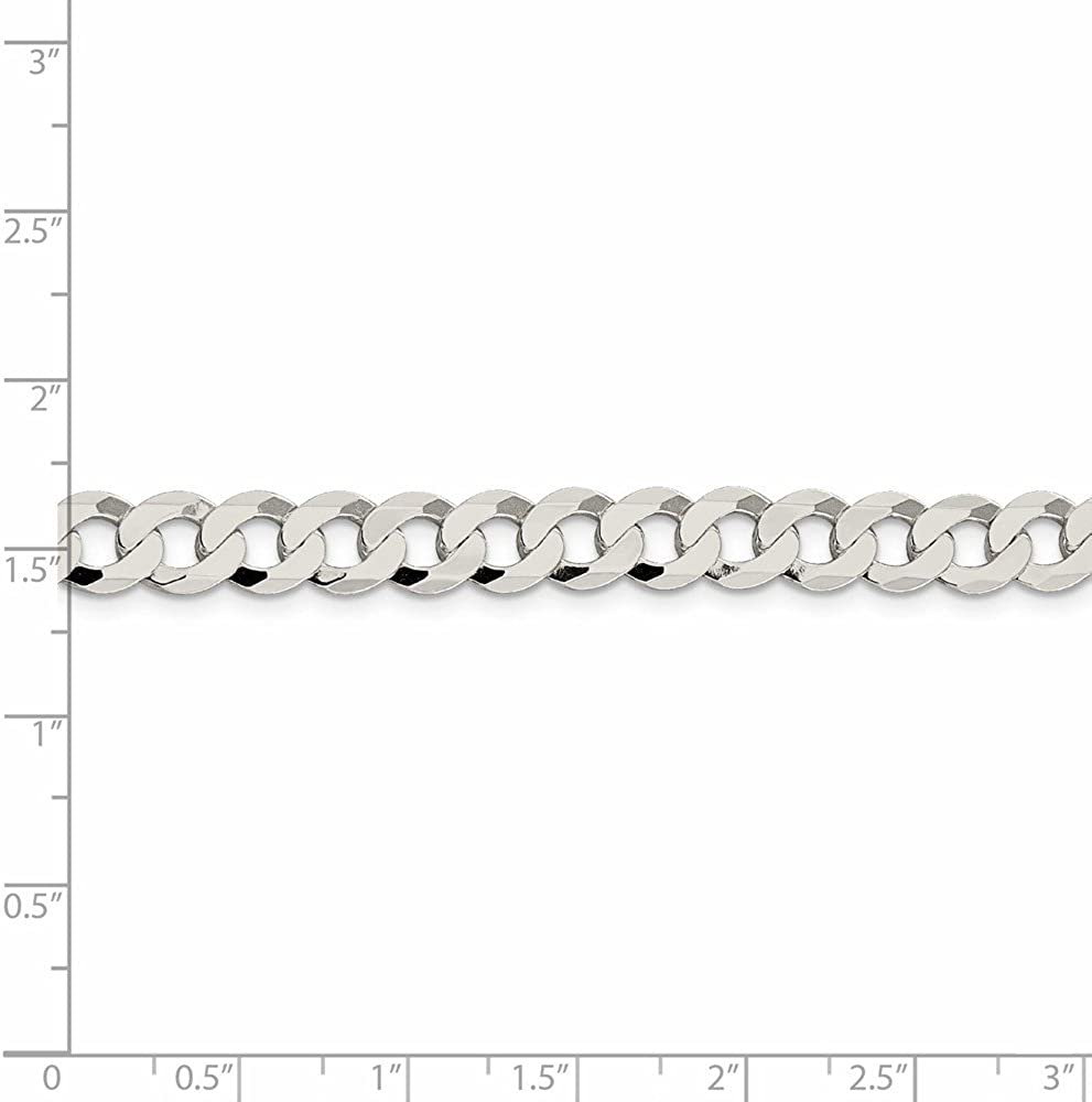 Sterling Silver 8mm Close Link Flat Curb Chain