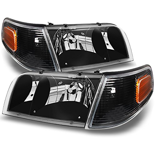 Ford Crown Victoria Black Replacement Headlights W/ Corner Lamps 4pc Left + Right Pair Set (Black Headlights Corner Lights)