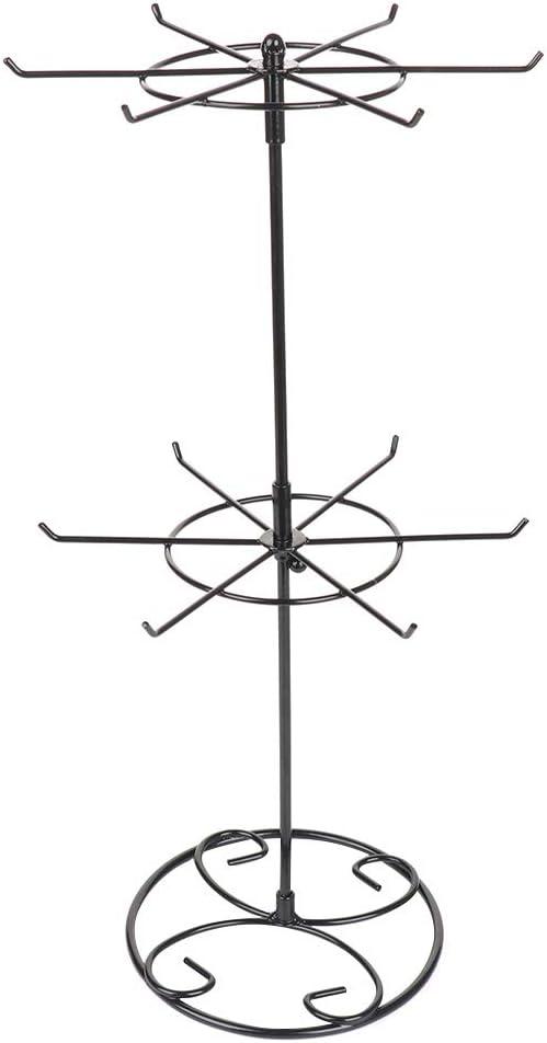 SUREH Soporte giratorio de 2 niveles negro para collar, organizador de joyería de metal, torre y árbol de 12 ganchos, soporte para exhibición de joyas, pendientes y pulseras
