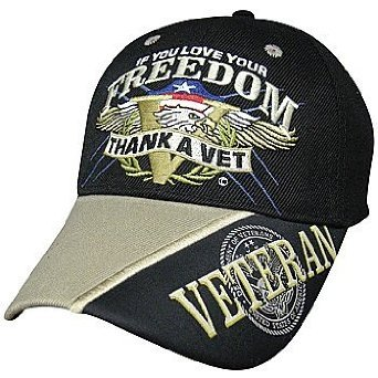 If You Love Your Freedom Thank a Vet Baseball Cap Hat Military Veteran by Freedom Fighter Headwear