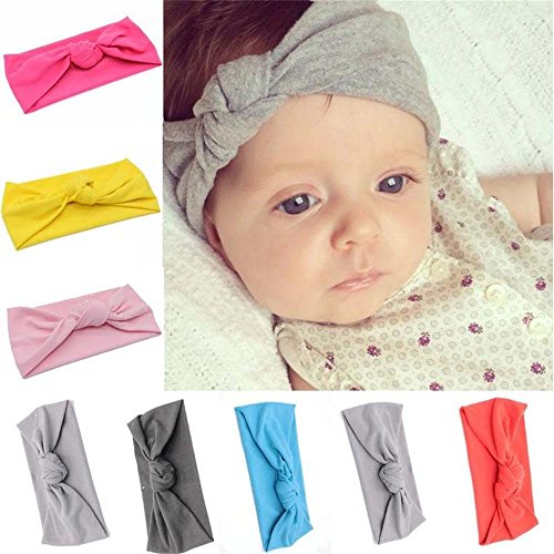 Udobuy8 Pcs Super Cute Baby Girls Toddler Elastic Headbands Turban Knot Hairband Headwear
